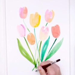 Super Easy Loose Aquarell Tulpen | #PaintingForBeginners - YouTube